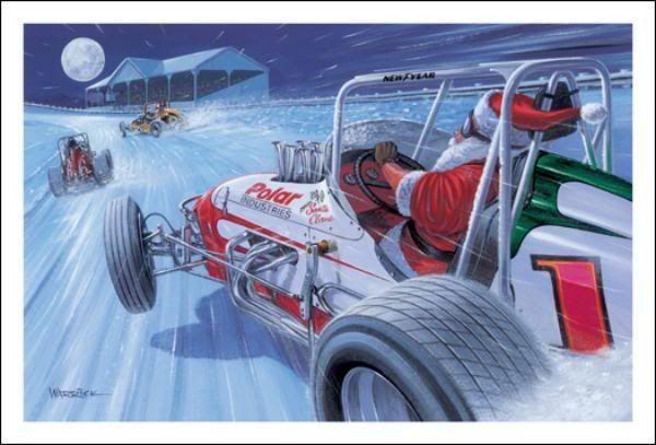 Merry Christmas Sprint Car Santa | Christmas Cards | Pinterest ...