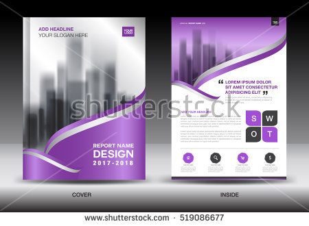 Annual Report Brochure Flyer Template, Purple Cover Design