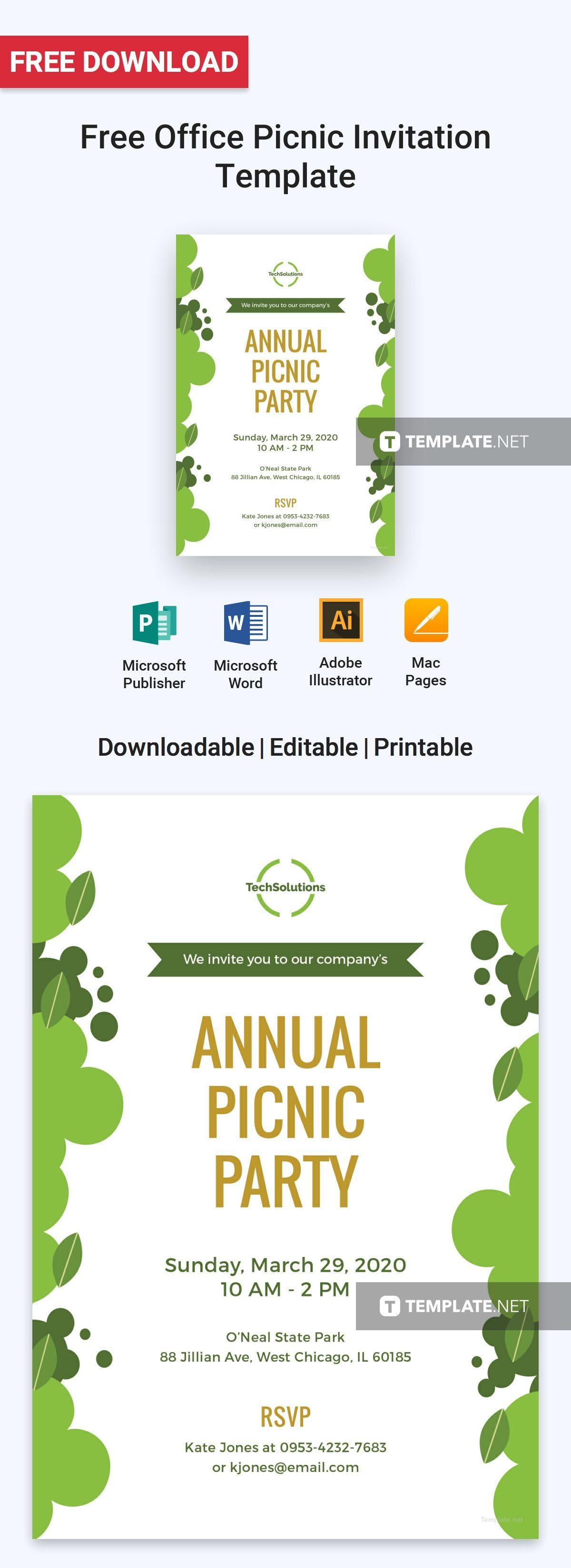 Free Office Picnic Invitation Invitation Templates Designs 2019