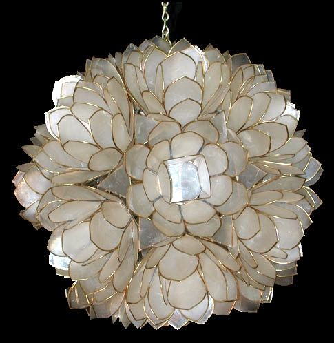 Lotus flower shell chandelier interiors beach house pinterest capiz lotus flower chandelier chandeliers are ornamental or decorative light fixtures that are employed for ceiling light mozeypictures Gallery