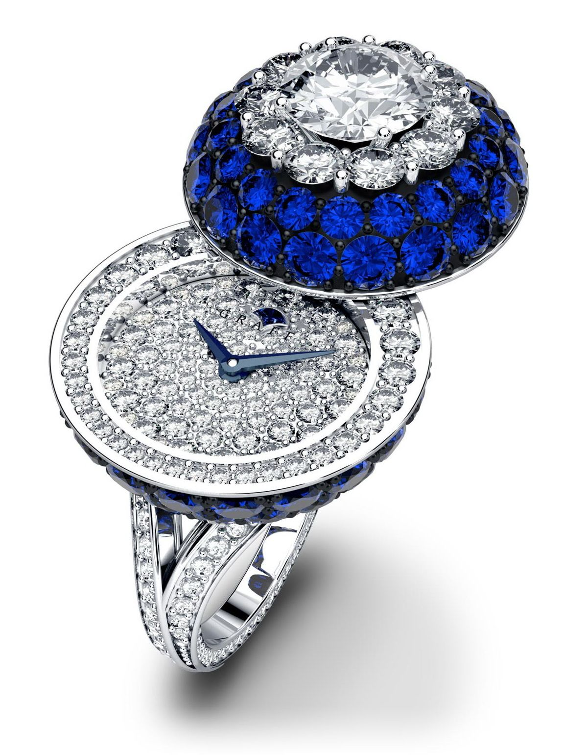 Graff Diamonds Sapphire Halo Secret Ring Watch Ring Watch Antique Watches Pendant Watches