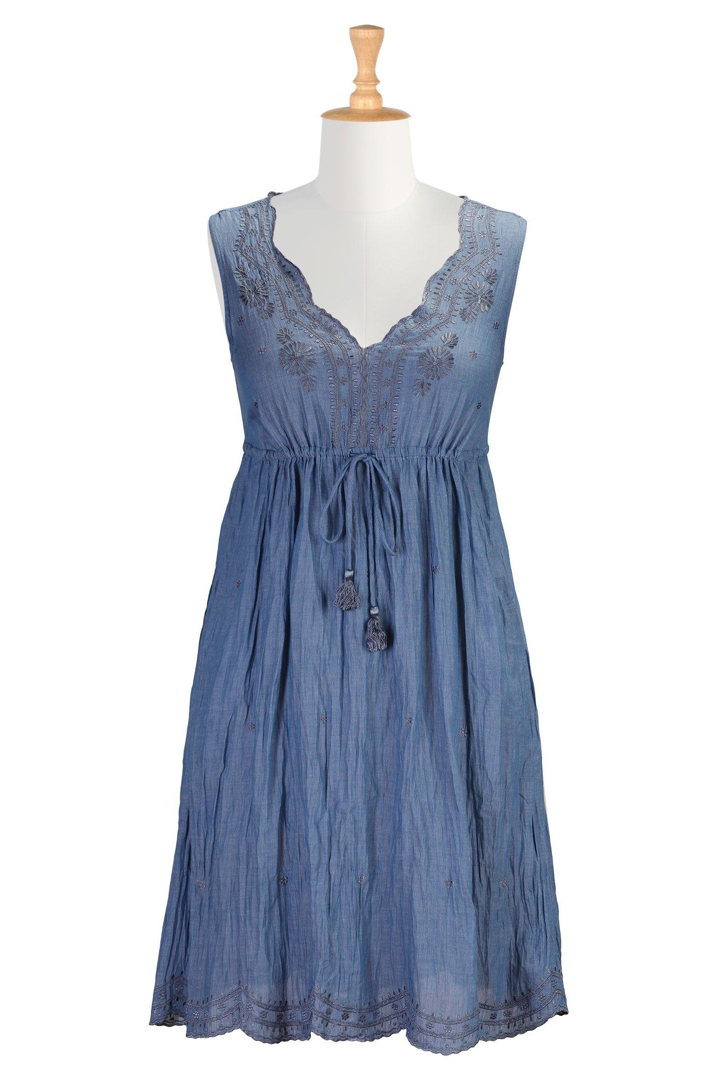 631a3f8f893 Indigo Chambray Voile Dresses