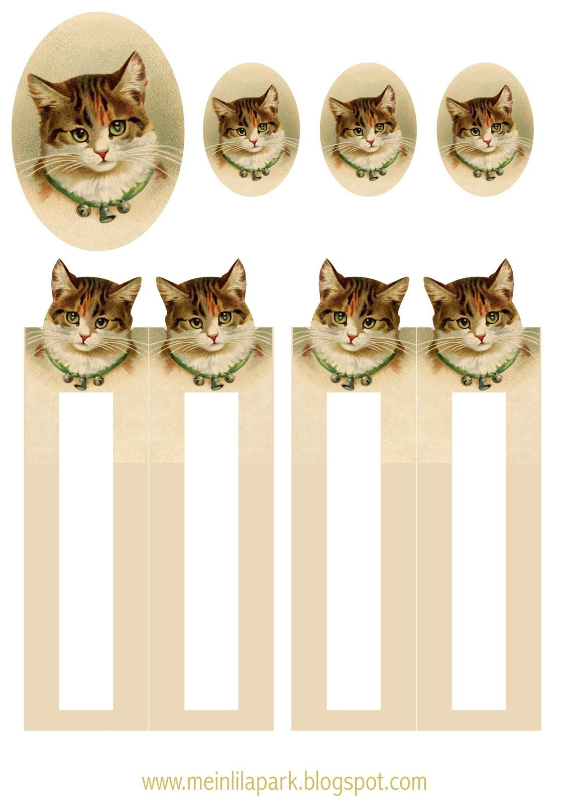 Free printable vintage cat bookmark - ausdruckbares Lesezeichen - freebie | MeinLilaPark – DIY printables and downloads