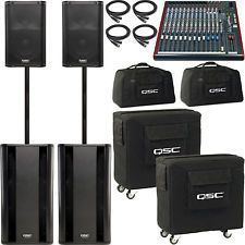 qsc 4 speaker system with mixer mic and ipod cable rental n mi. Black Bedroom Furniture Sets. Home Design Ideas