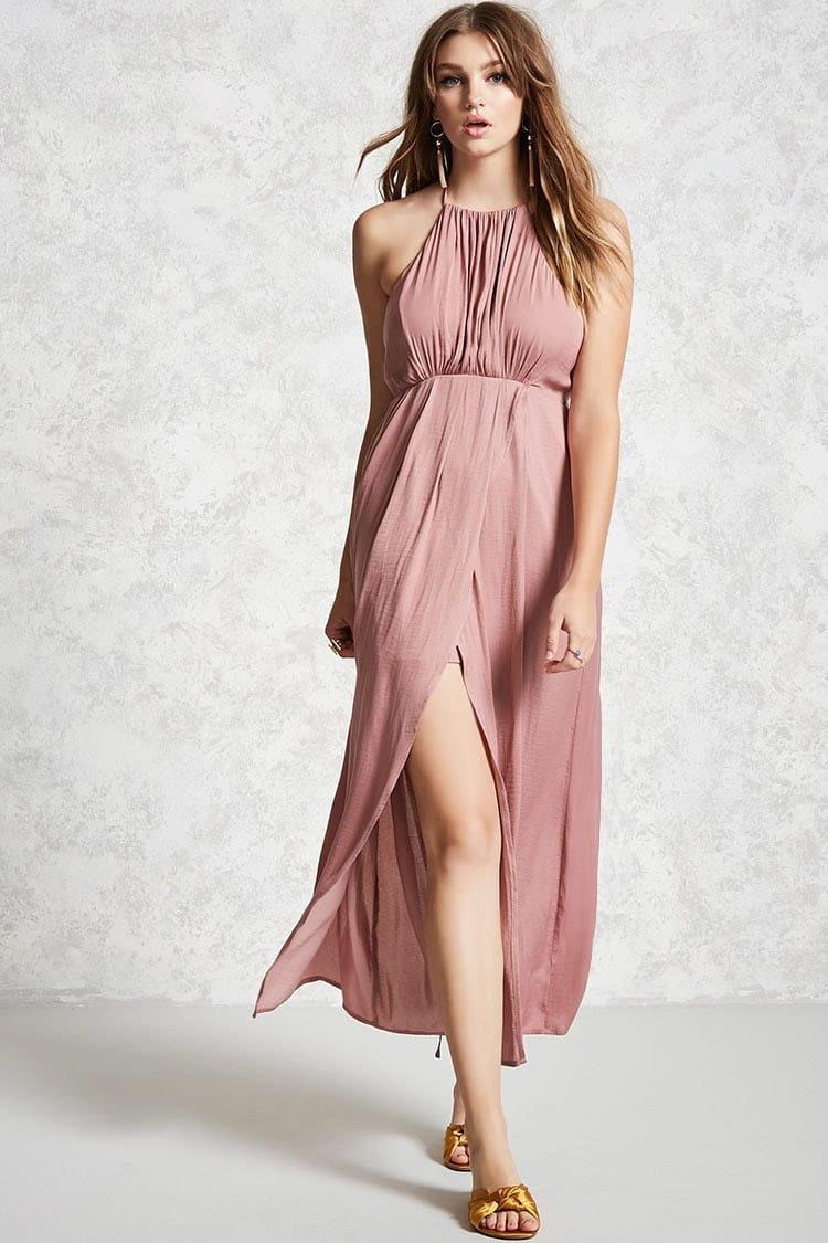 Forever 21 Contemporary A satin maxi dress featuring a