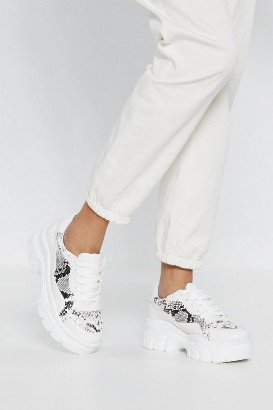 Snake Print Chunky Platform Snealers | Nasty Gal