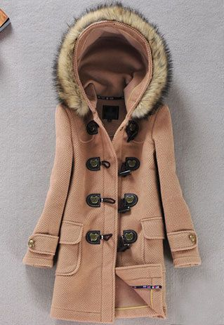Leisure Retro Cute Hood Pure Color Worsted Coat