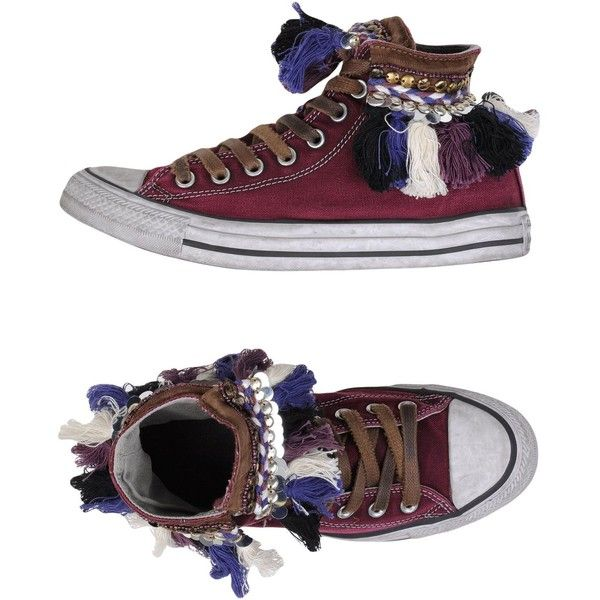 Converse Limited Edition High-tops & Trainers ($180) ❤ liked on Polyvore featuring shoes, sneakers, maroon, round toe shoes, hi tops, converse high tops, maroon sneakers and converse trainers