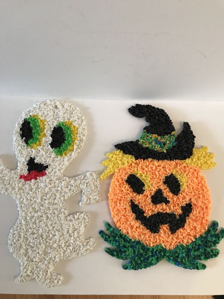 Details about 3 HALLOWEEN MELTED PLASTIC POPCORN DECORATIONS GHOST - vintage halloween decorations ebay
