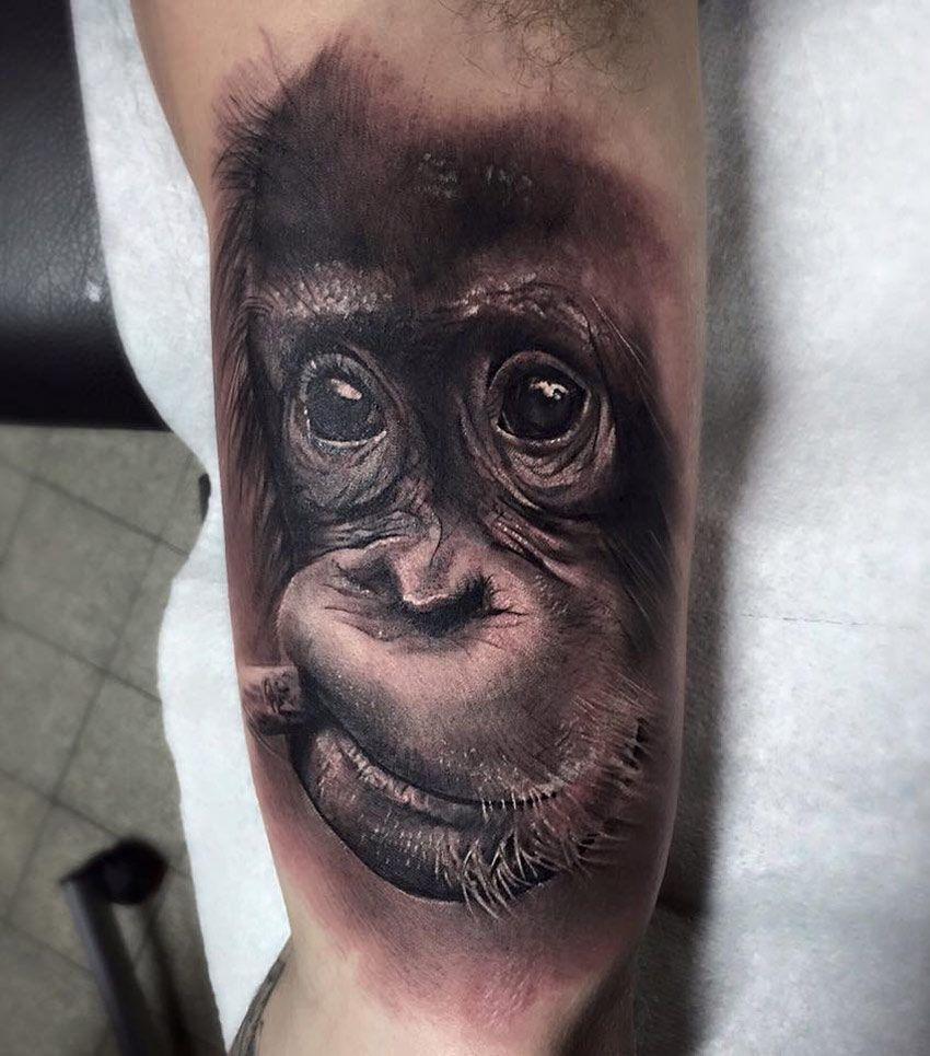 Baby portrait tattoo ideas - Baby Chimpanzee Portrait By Vintageinx Http Tattooideas247 Com Baby