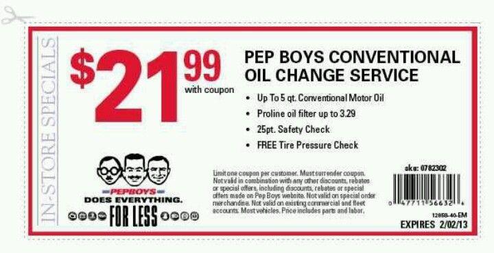 Print And Let Ur Car Enjoy Oil Change Pep Boys Free Tire