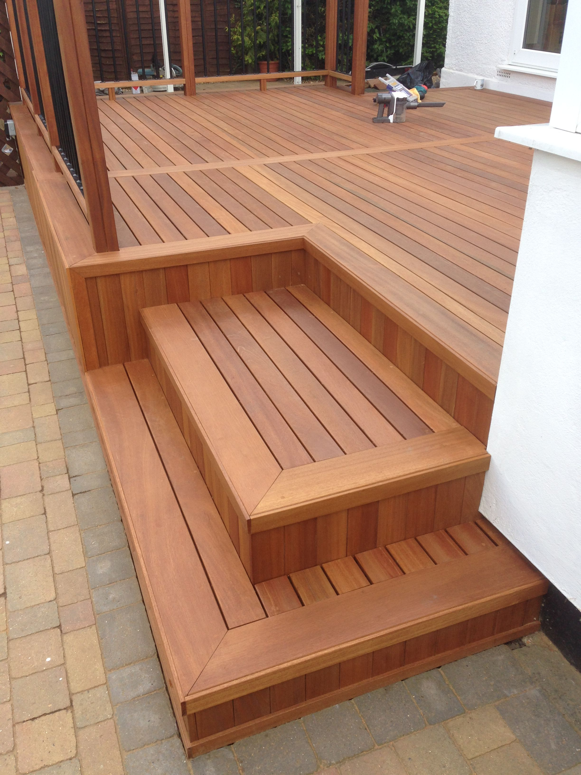 Yellow Balau Deck And Steps Corner Of Steps Trimmed With 10 X 50mm Yellow Balau Wood Deck Designs Deck Design Diy Deck