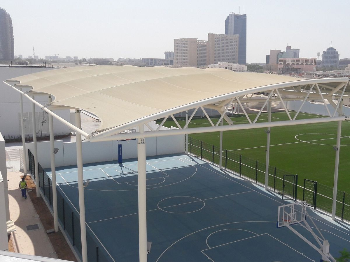China Basketball Court Tensile Structure Canopy Outdoor Basketball Courts Shade Supplier Canopy Outdoor Outdoor Basketball Court Tennis Court Backyard