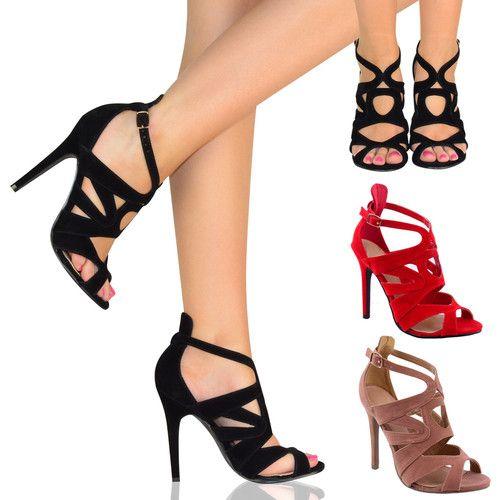 Ladies Womens Stiletto High Heel Sandal Evening Party Peep TOE
