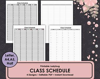 Class Schedule Student Schedule Classroom Template Printable