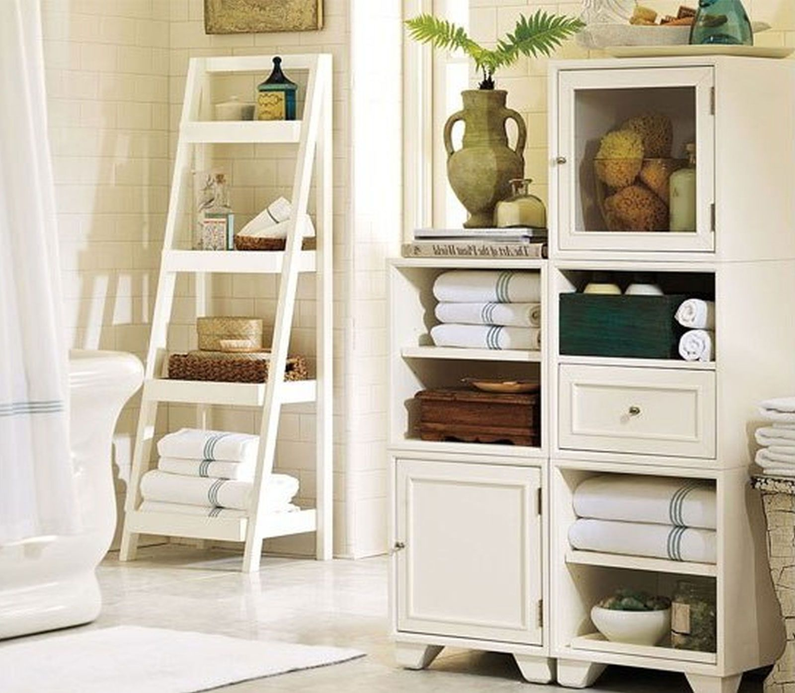Another Storage Idea For Large Wall In Master Bath Bathroom - White bathroom towel shelf for small bathroom ideas