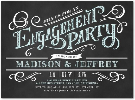 Enchanting Engagement - Signature White Engagement Party - engagement party invites templates