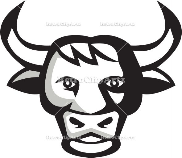 Bull Cow Head Retro Vector Stock Illustration Illustration of a bull cow head smiling friendly facing front set on isolated white background done in retro style. #illustration #BullCowHead