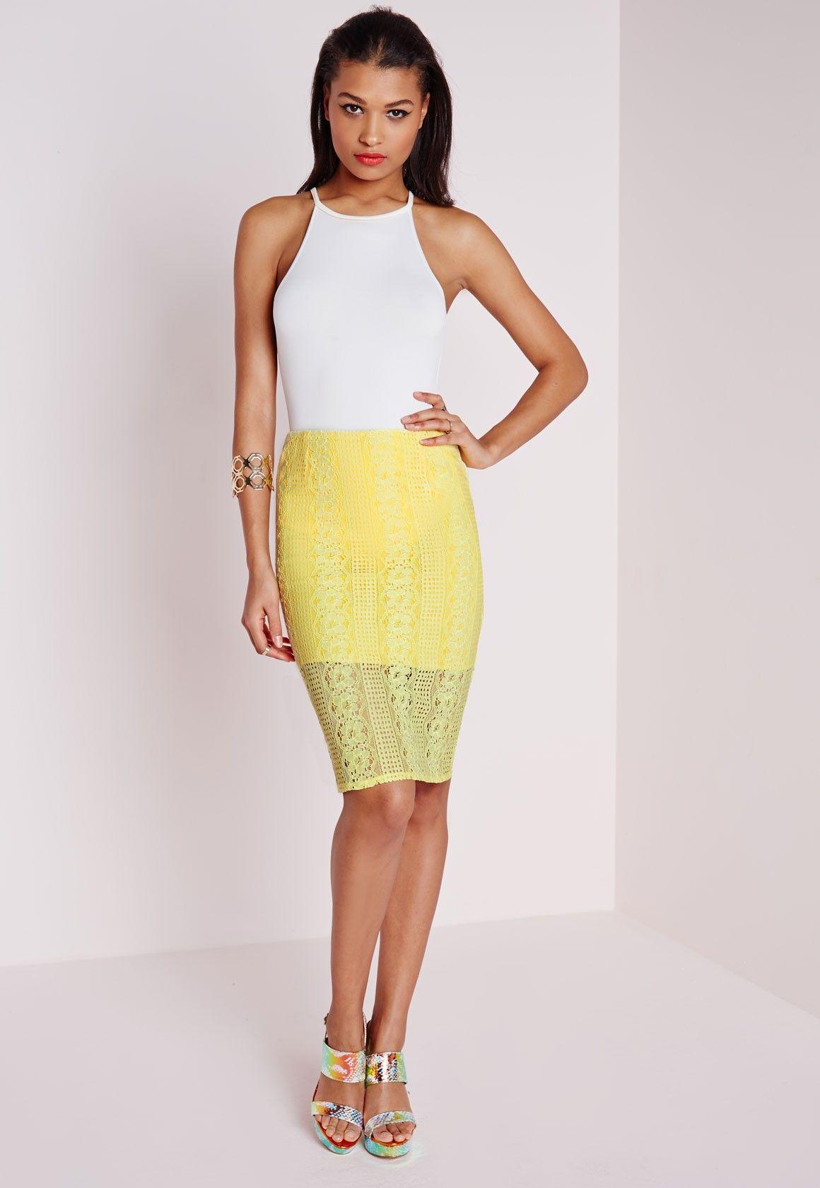 Lace Midi Skirt Lemon - Midi Skirts - Missguided | Ireland