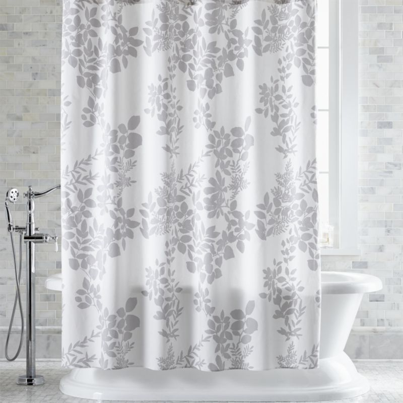 Free Shipping Shop Marimekko Kukkula Grey Shower Curtain This Graphic Botanical Print By Fu Gray Shower Curtains Floral Shower Curtains Shower Curtain Sets