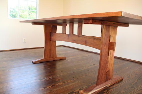 Reclaimed Walnut Trestle Table Trestle Table Wood Slab Dining