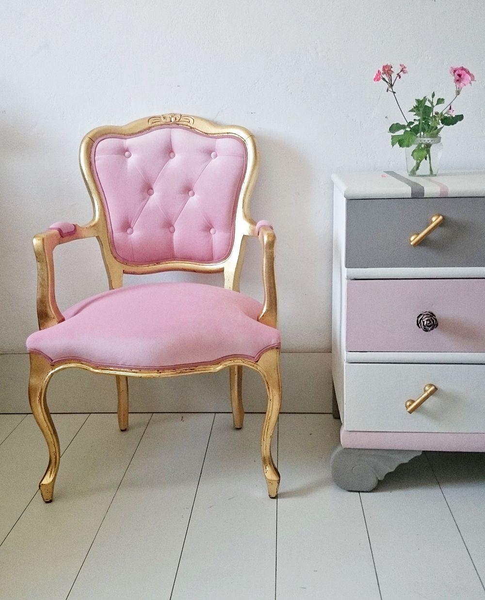 Sillon vintage en oro y rosa bohemian and chic for Milanuncios muebles vintage