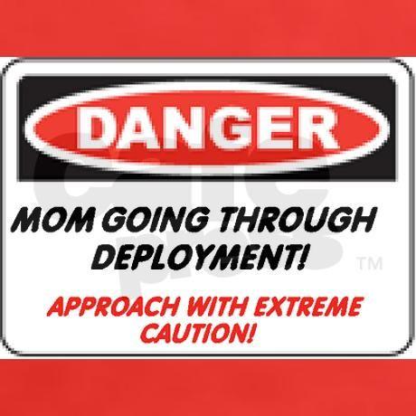 3aa4d650 Danger! Deployment Mom.. Women's Dark Women's Classic T-Shirt ...