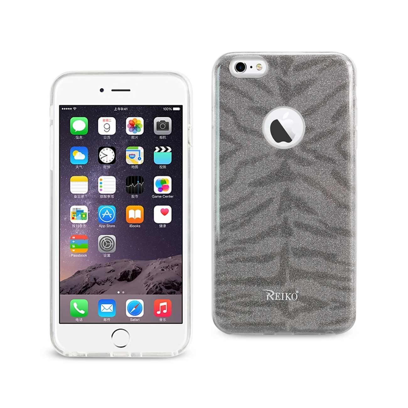REIKO IPHONE 6 PLUS/ 6S PLUS SHINE GLITTER SHIMMER TIGER STRIPE HYBRID CASE IN GRAY
