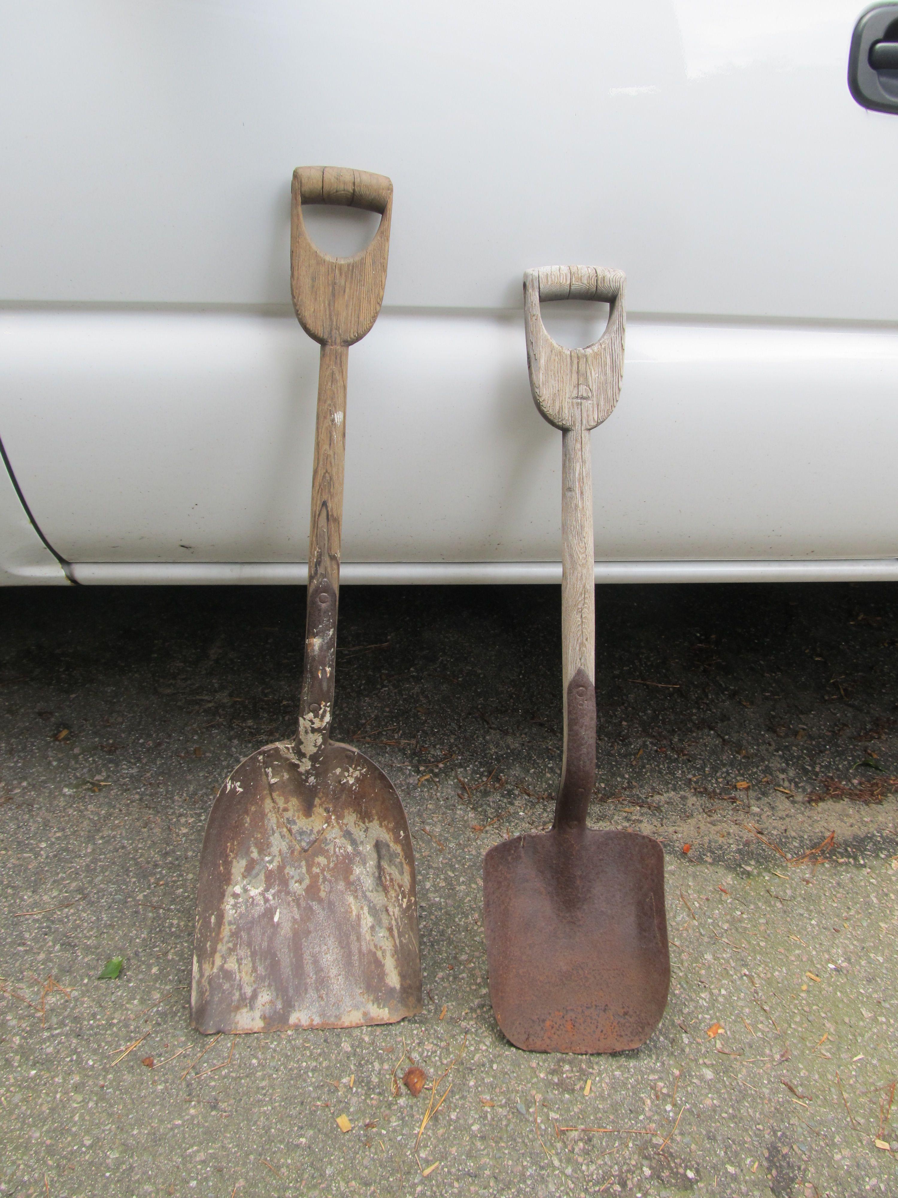 D wooden handled shovels Yard/Flea/Craigslist finds in