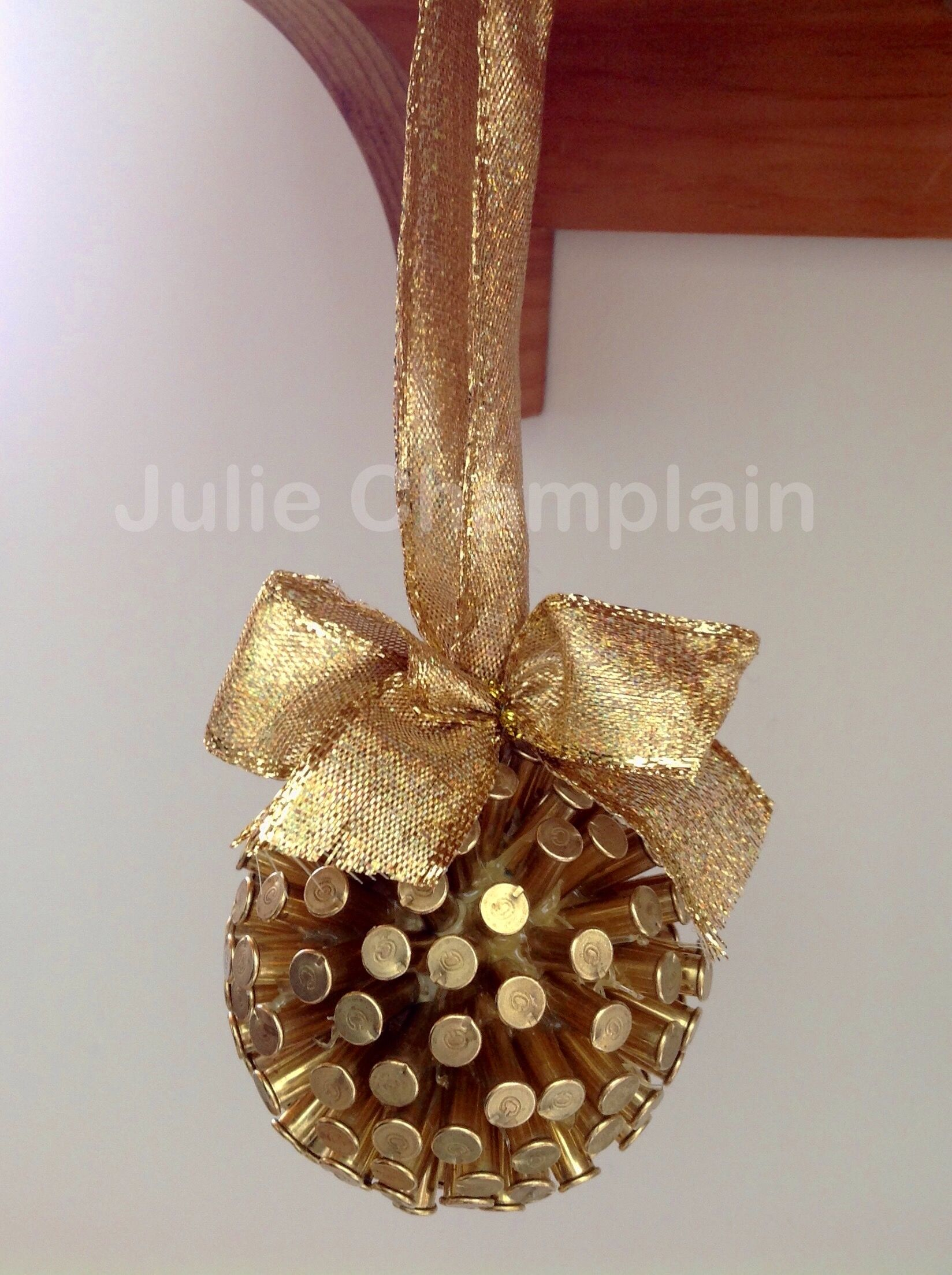 Engagement ring christmas ornament - I Made This Christmas Ornament From Spent 22 Brass Bullet Casings Hot Glued On