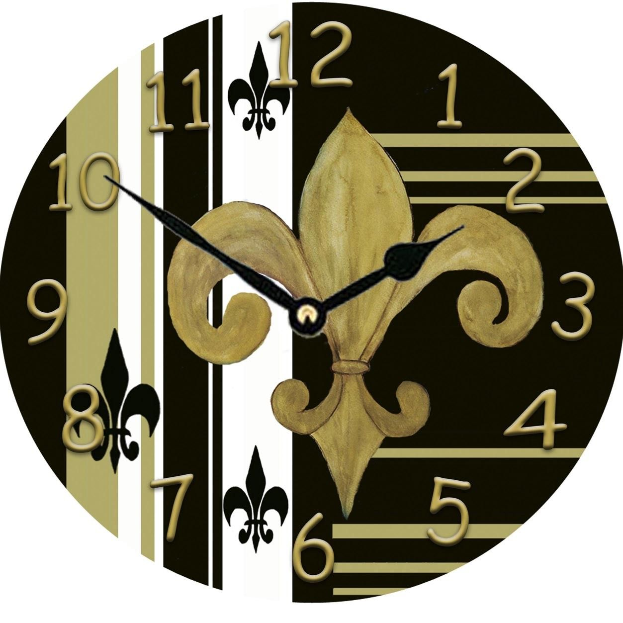 Gold and black fleur de lis round hardboard large by maremade