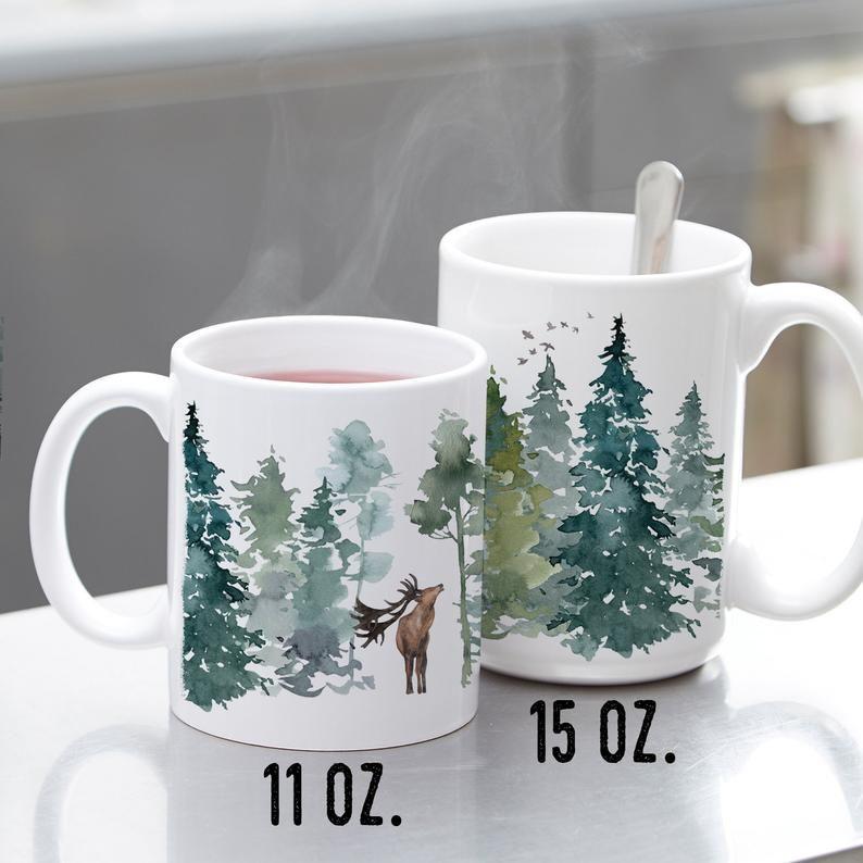 Deer And Pine Ceramic Mug Watercolor Forest Reindeer Winter Woods