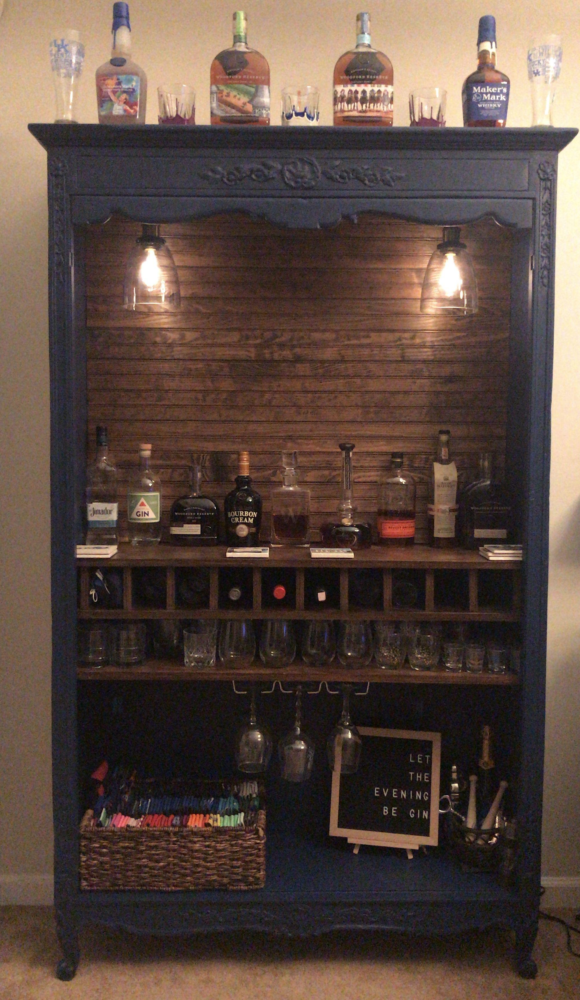 Piano Bar Per Casa repurposed armoire into bar with shiplap back, 10 wine