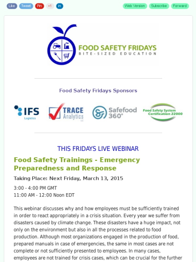 Live Webinar Food Safety Trainings Emergency