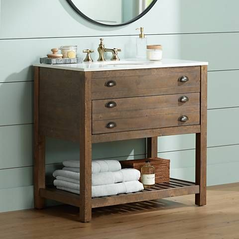 crosett cayhill distressed brown 36 quot wide sink vanity 24763
