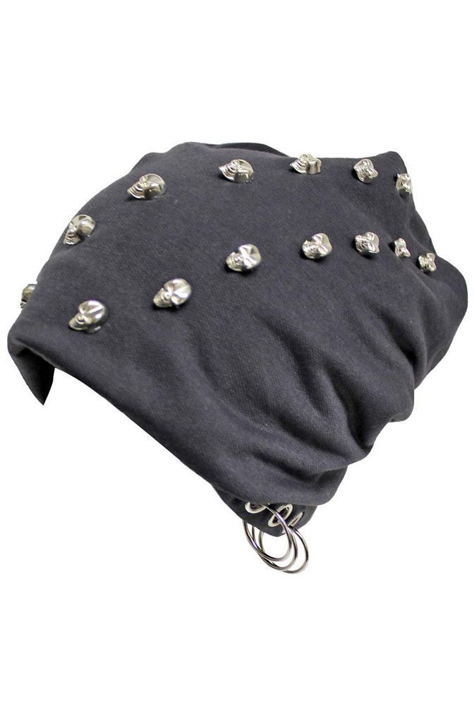 0a6e5467810 Slouchy Skull Studded Hat With Grommet Rings