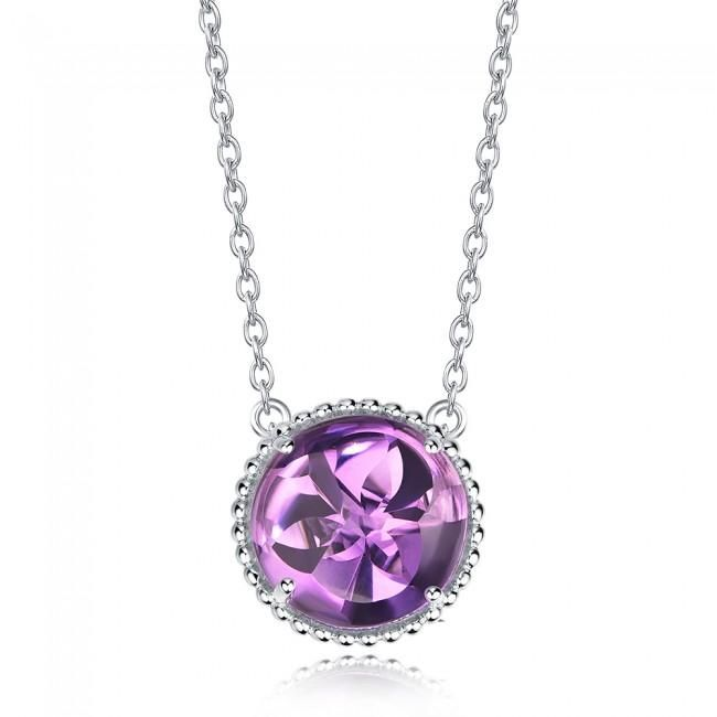 Silverbene Fantasy 5.95ct Natural Amethyst Sterling Silver Round Lucky Necklace