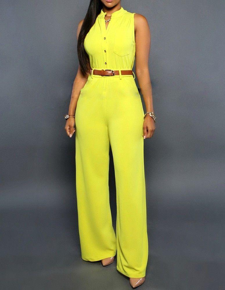 e2b25e8dd8b1 Yellow Sleeveless Pocket Button Wide Leg Party Pants Jumpsuit ...