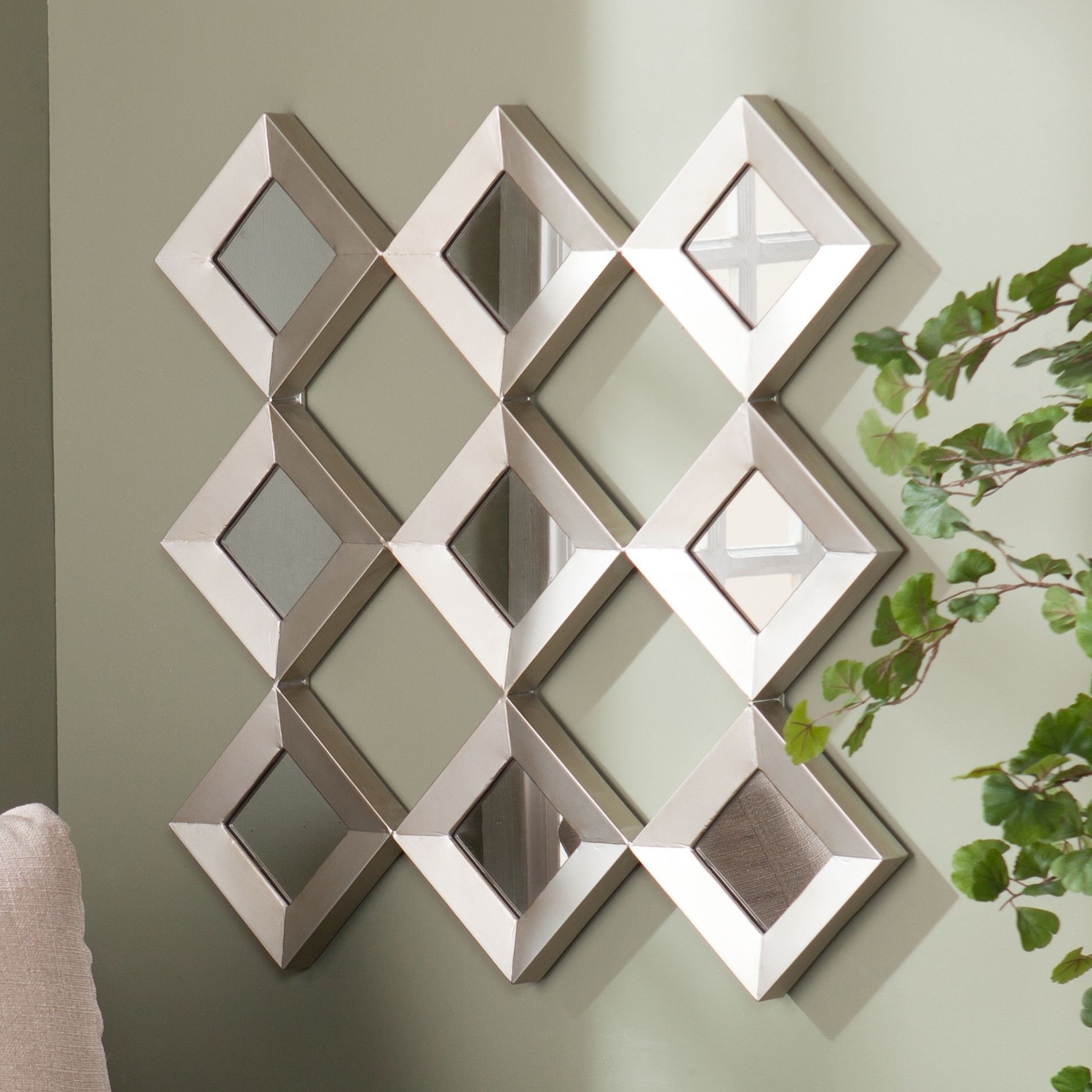 Harper blvd diamante mirrored squares wall sculpture for Wall mirror design
