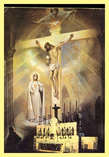 The Vision of the Most Holy Trinity and Our Lady of Fatima at Tuy on june  13, 1929 (Lucia dos Santos as a Dor… | Crucificação de jesus, Imagens  religiosas, Our lady