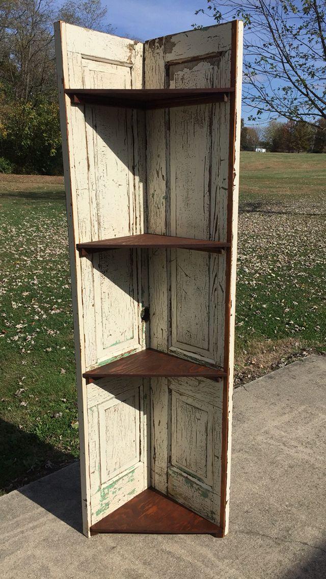 Vintage Door Corner Shelf Door Corner Shelves Corner Shelves Vintage Doors Repurposed