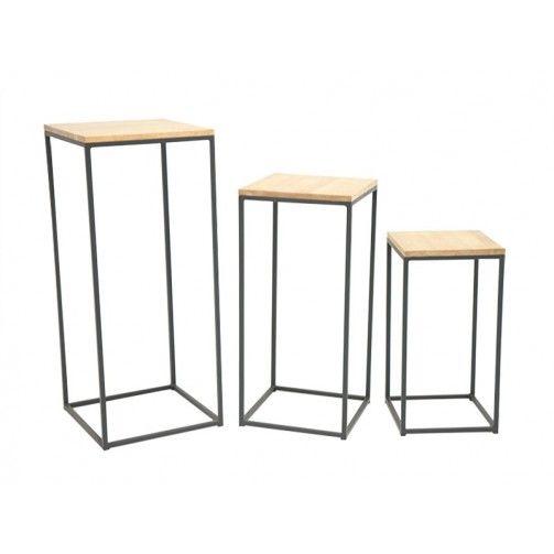 Vente de meubles en bois exotique avec ce set de trois consoles en - meuble en fer design