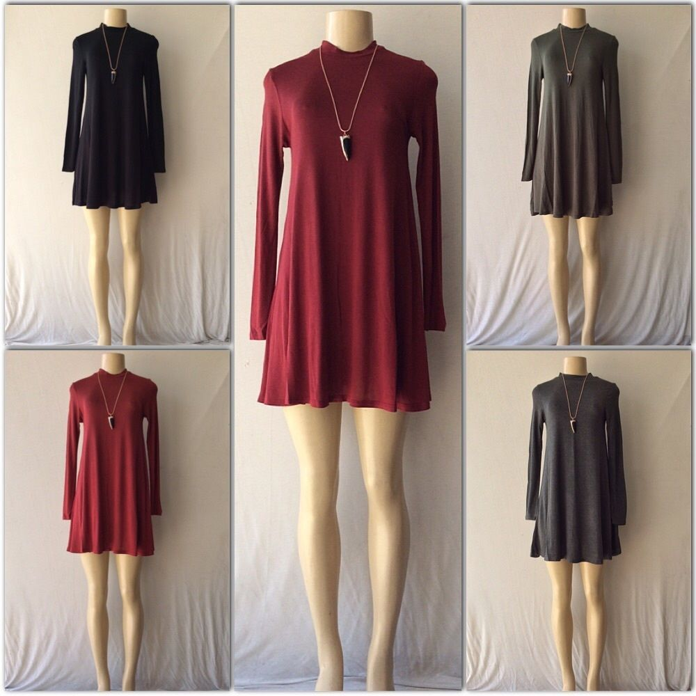 Trendy Boho Mock Neck Trapeze Swing Tunic Dress With Long Sleeves in 4 Colors