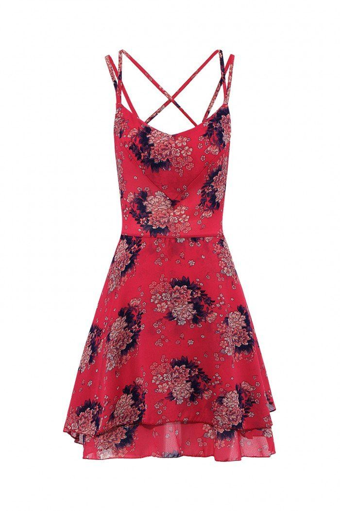 bfff202f74e Floral Print Layer Strappy Back Cami Skater Dress