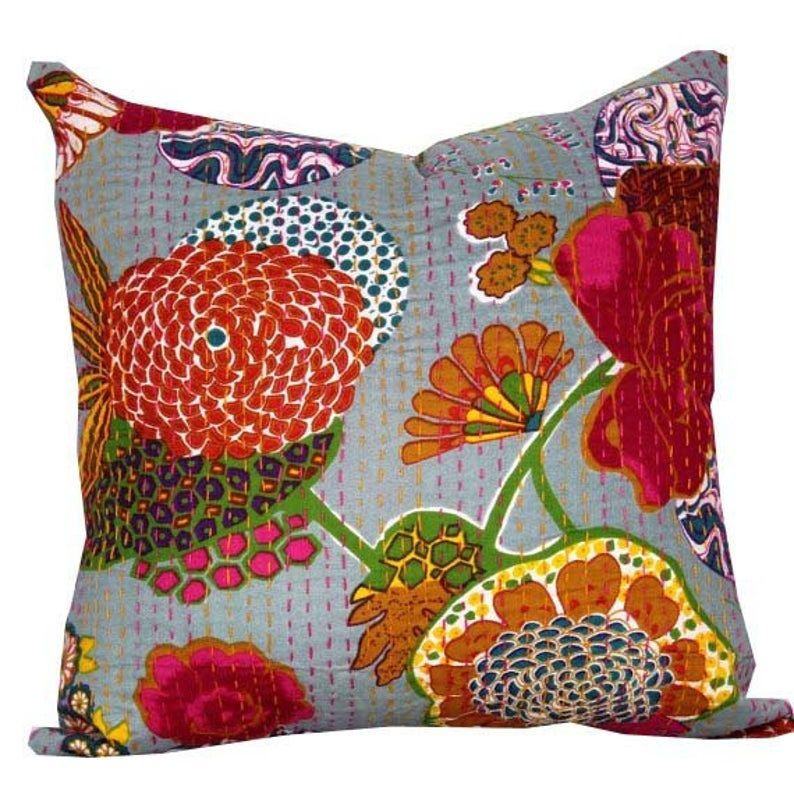 Indian Kantha Quilted Cushion Cover Ethnic Throw Floral Decorative Pillow Red