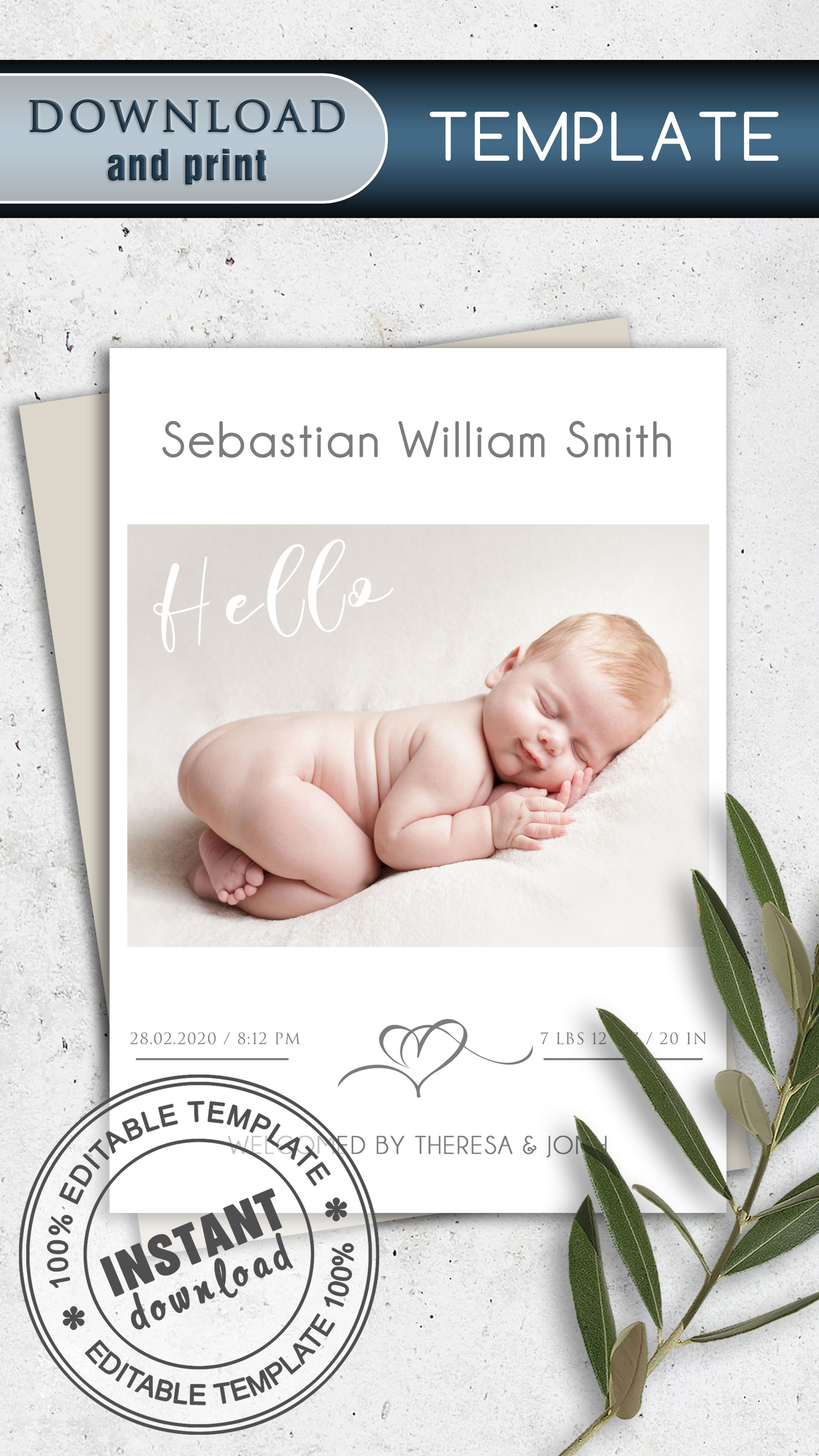 Custom Baby Birth Announcement Template Card Template With Etsy Birth Announcement Template Baby Announcement Cards Baby Birth Cards