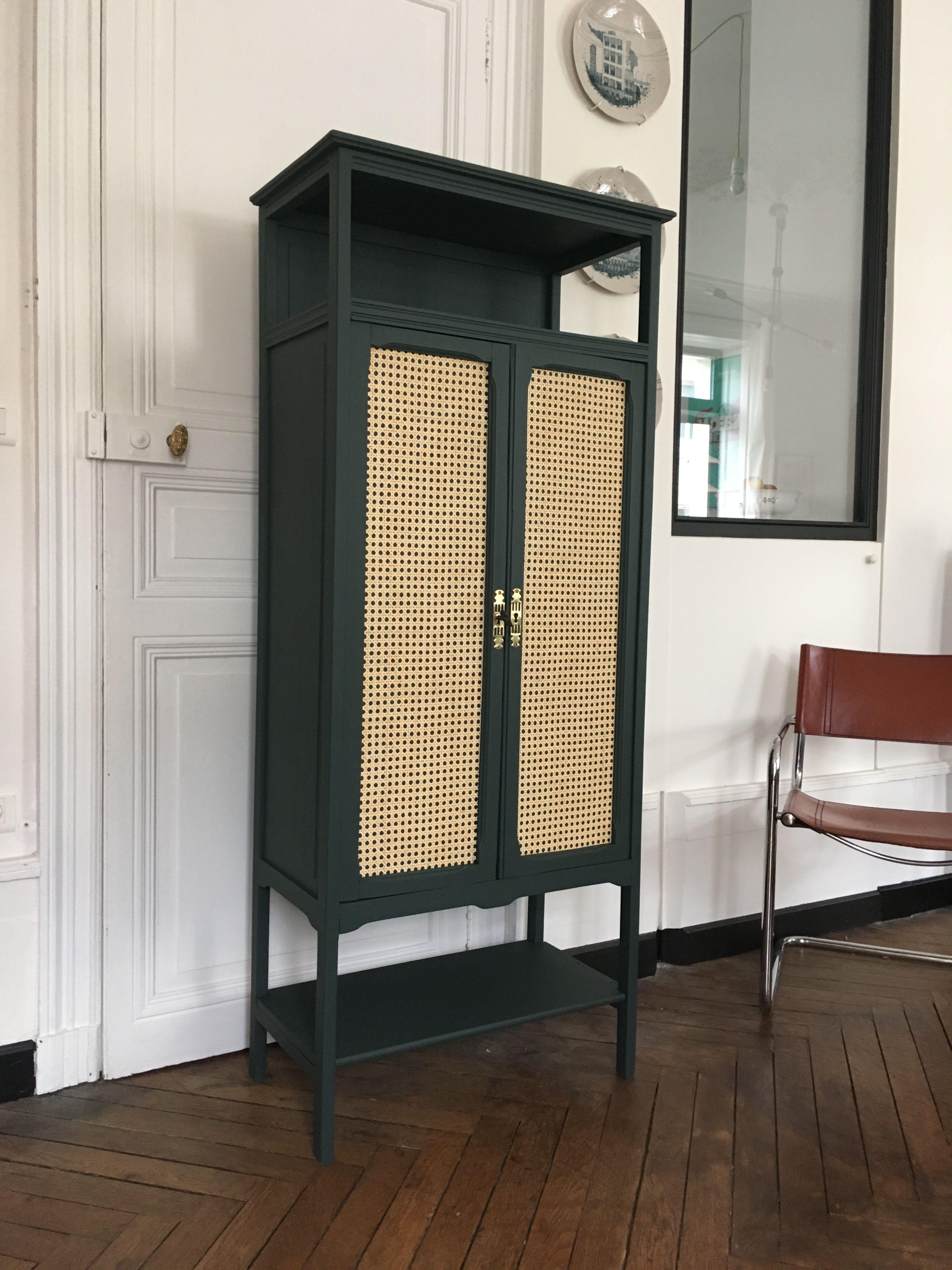 Armoire Bibliotheque En Cannage Meubles Vintage Nantes Mobilier De Salon Meuble Vintage Cannage