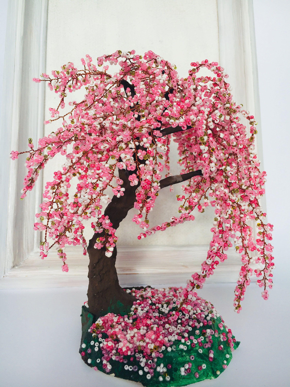 Gardening Gift Sakura Bonsai Tree Cherry Blossom Wire Wrapped Tree Gifts Handmade Office Decor Wire Cherry Blossom Bonsai Tree Wire Tree Sculpture Bonsai Tree