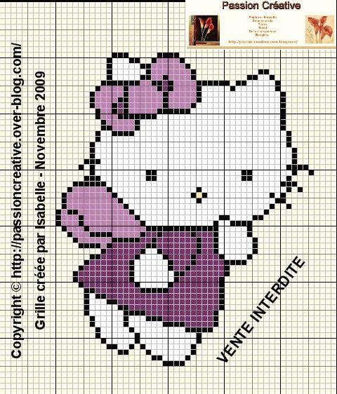Grille point de croix : Hello Kitty Ange | Cross stitch ...