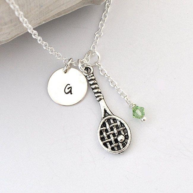 Tennis Charm Bracelet: Tennis Necklace, Birthstone Initial Necklace, Monogram